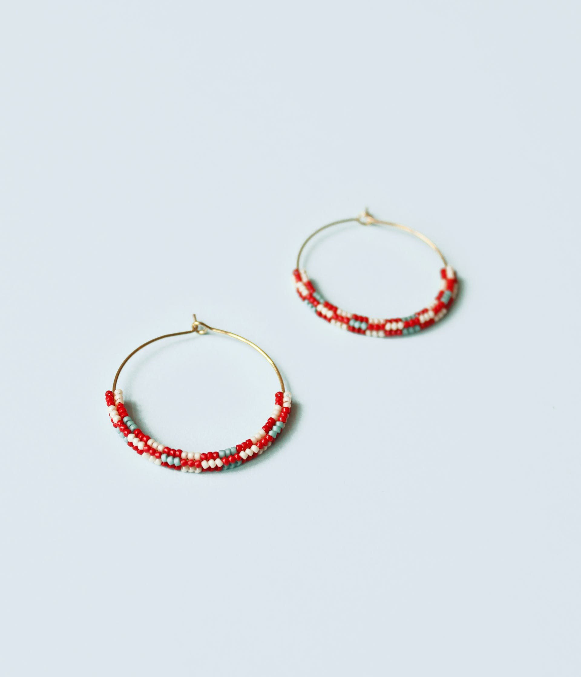 Handcrafted earrings made from tiny glass beads